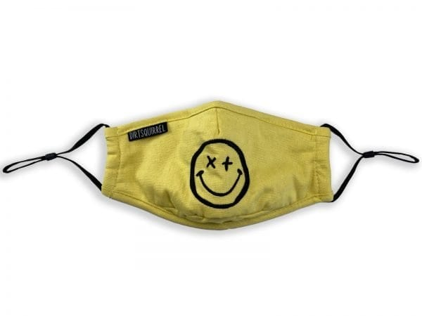 Dirt Squirrel Yellow XX Smiley Face Mask