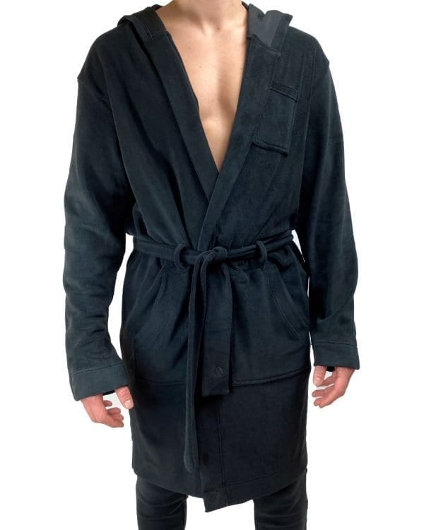 Dirt Squirrel Onyx Black Soft Lounge Robe Front