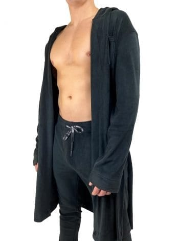 Dirt Squirrel Onyx Black Soft Lounge Robe Open