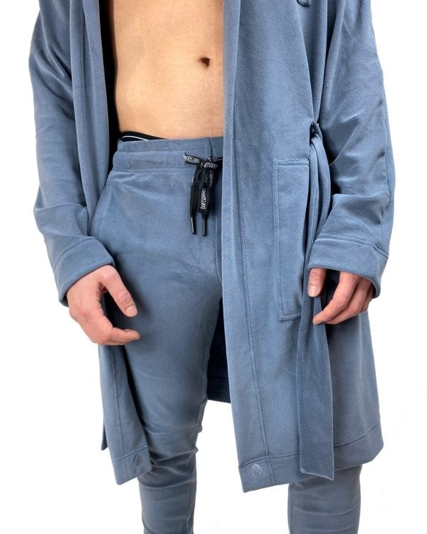 Dirt Squirrel Slate Grey Soft Lounge Pant and Robe Close