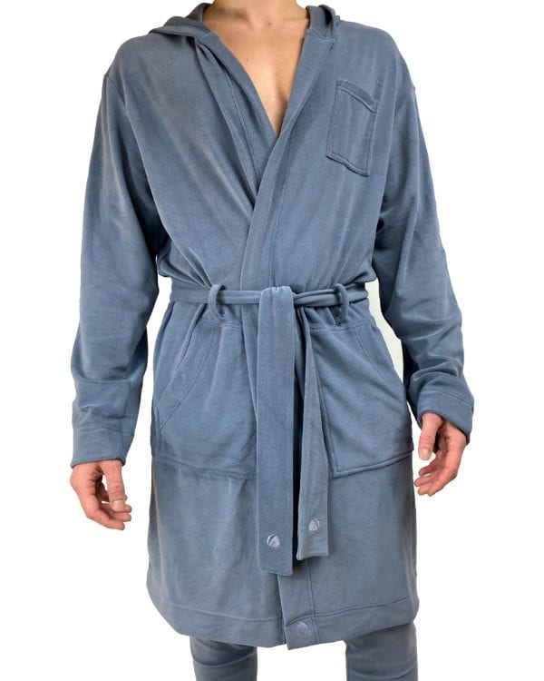 Dirt Squirrel Slate Grey Soft Lounge Robe Front