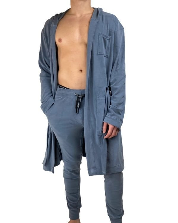 Dirt Squirrel Slate Grey Soft Lounge Robe Front Open Long