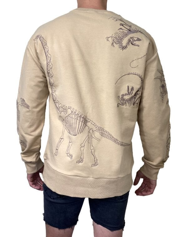 Dirt Squirrel Dinosaur Embroidered Sweater Back