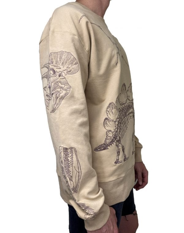 Dirt Squirrel Dinosaur Embroidered Sweater Side 2