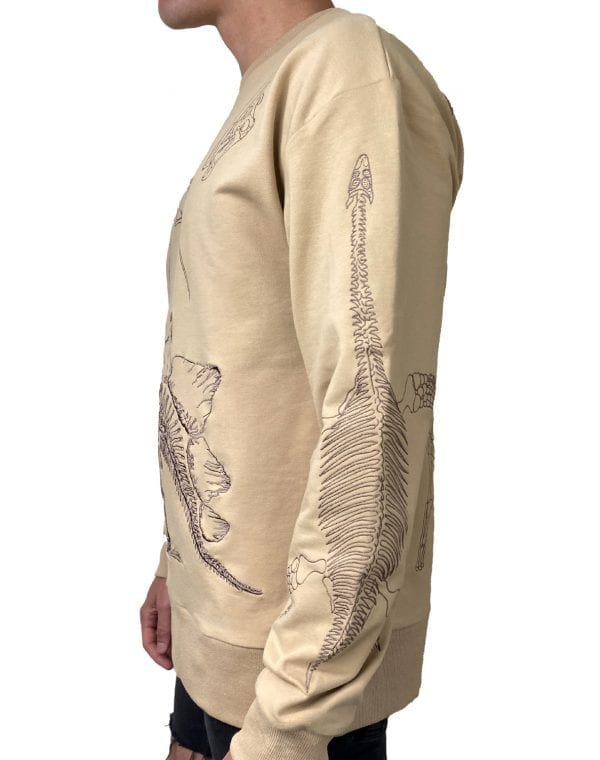 Dirt Squirrel Dinosaur Embroidered Sweater Side